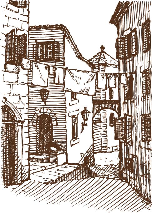 casas de pueblo pintorescas - vectores