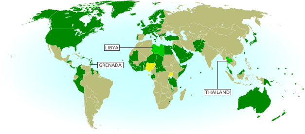 Map of countries that recognize the Republic of Kosovo as an independent state, updated for October 2013 with most recent additions (Thailand, Libya, Granada) and disputed recognitions highlighted