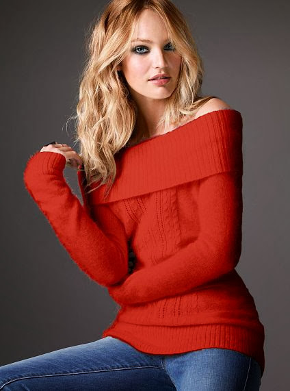 Red Off Shoulder Sweater With Blue Jeans
