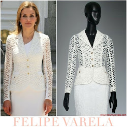 Queen Letizia Style FELIPE VARELA Dress and MAGRIT Sandals