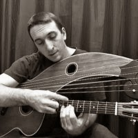 Andrew Kasab playing harp guitar