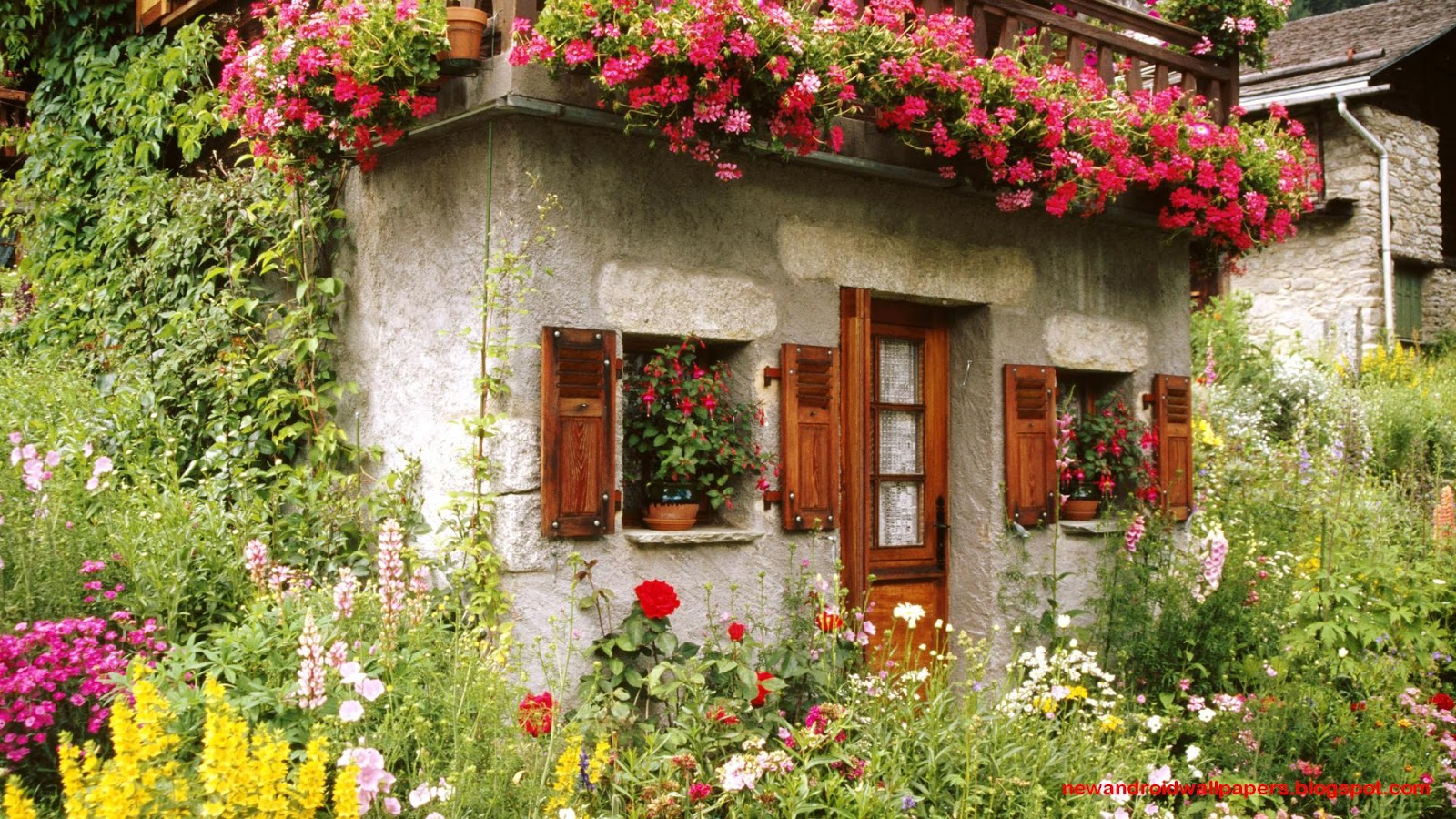 Beautiful collection of home garden wallpapers download for Classic house with flower garden