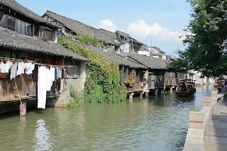 Laundry along a canal in Wuzhen, Zhejiang, China