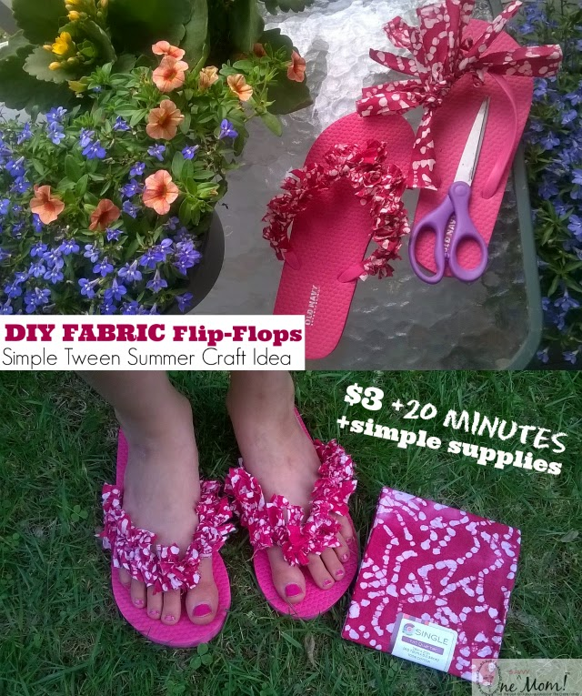 DIY Fabric Flip Flops and Patriotic Flag Ribbon Flip Flops Tween Summer Craft Idea Tutorial One Savvy Mom onesavvymom