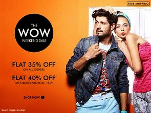 (Expired) Weekend Offer: Flat 35% Off (No Min Purchase) & Flat 40% Off  (Valid on Rs.1599 & above) Free Home Delivery on All Orders @ Myntra