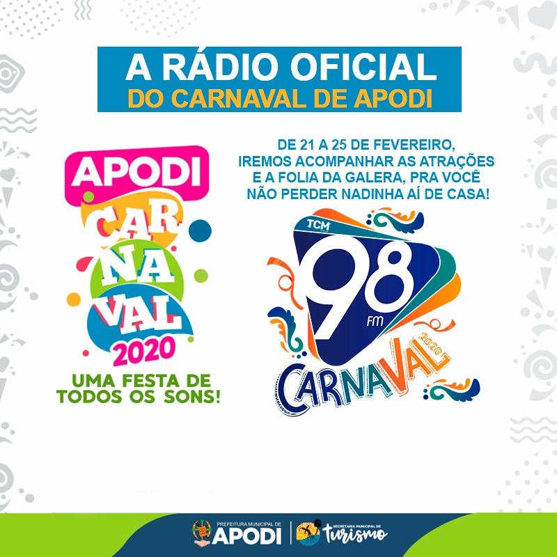 98 FM a rádio oficial do carnaval de Apodi