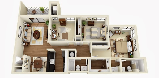 Amazing 3d house plans with furniture details collection 1 for 5 bedroom house plans 3d