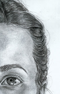 Charcoal drawing of hair and eye
