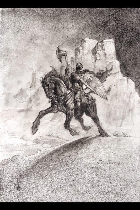 Dessin de Simon Bisley représentant death dealer en noir et blanc