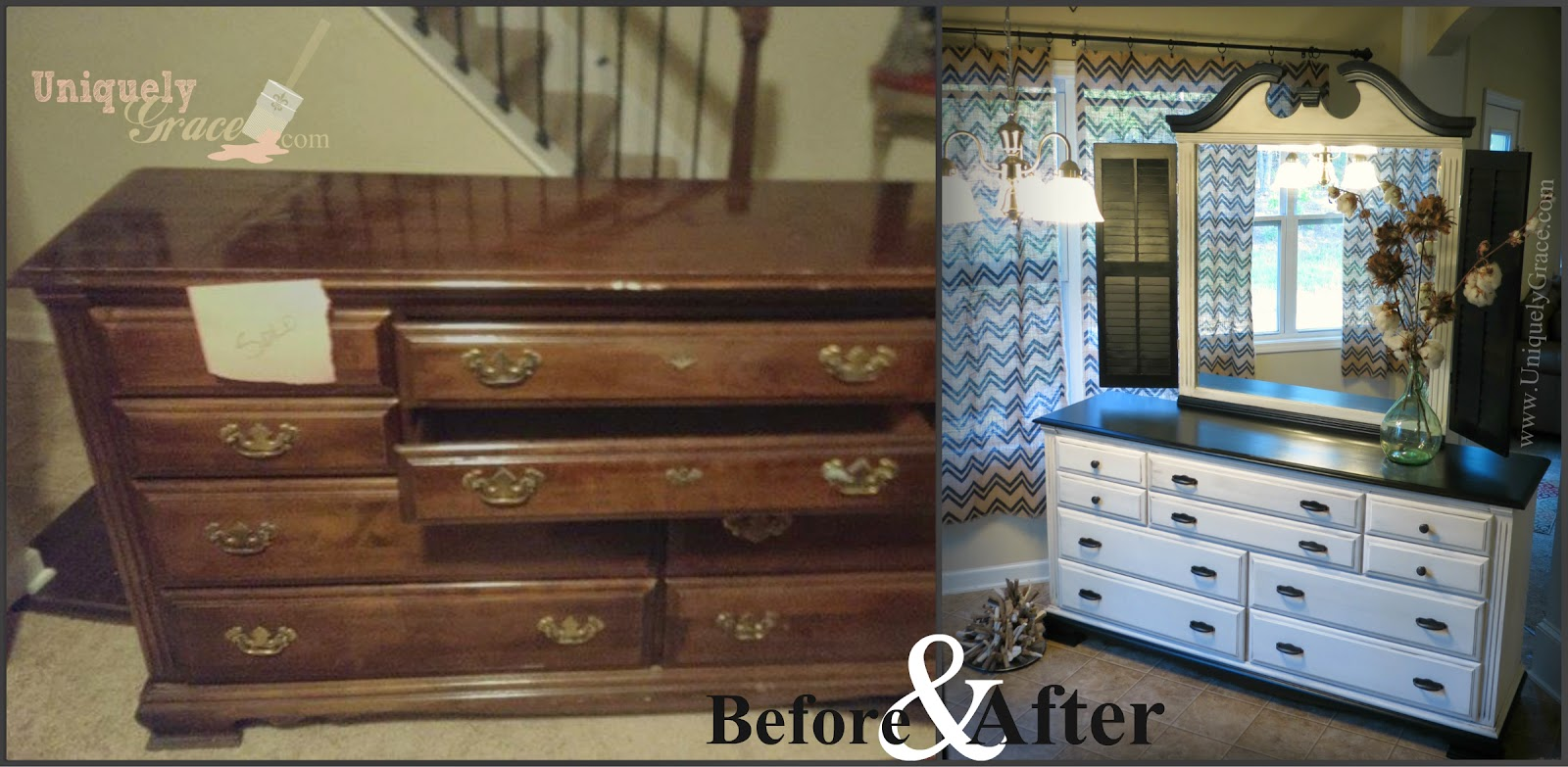 Yard sale find flipped to a colonial antebellum home for Black chalk paint dresser