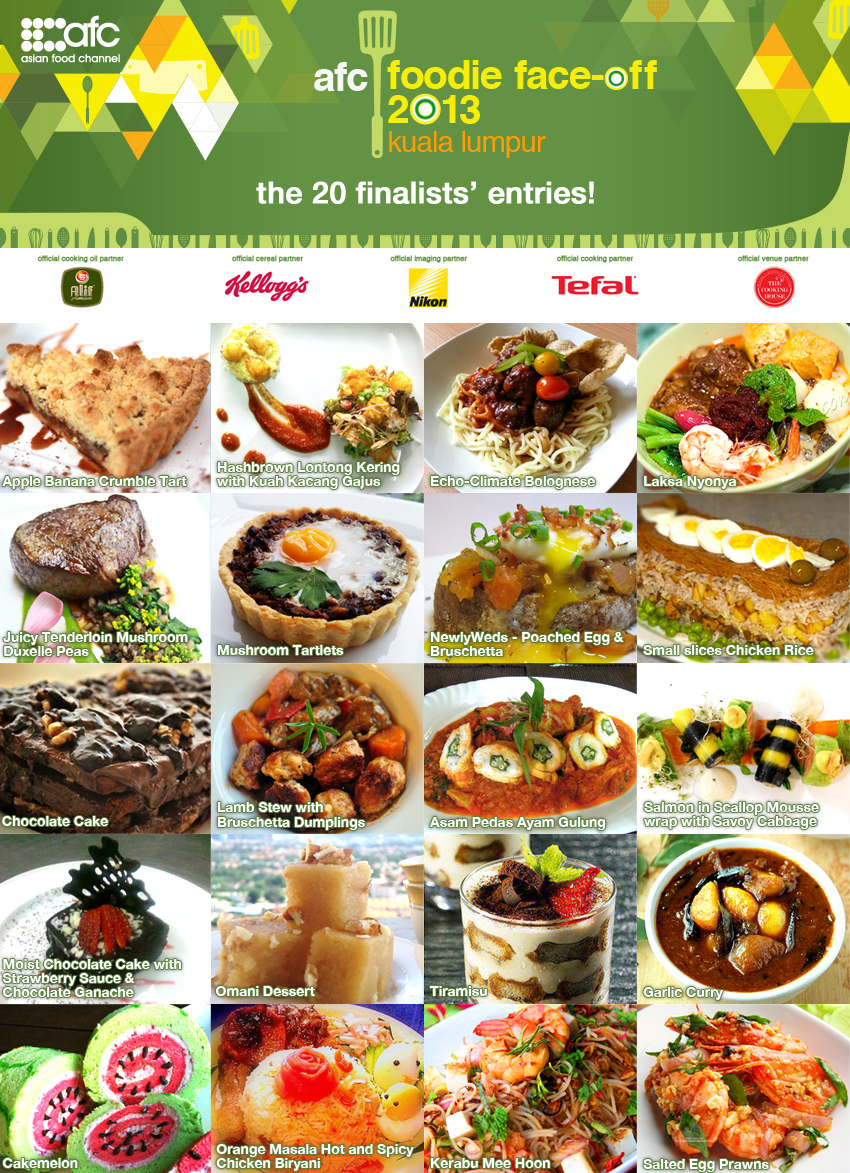 The asian food channel first cook off in malaysia for facebook afc judges have chosen the top 20 finalists from the top 50 entries submitted the 20 finalists will be required to prepare two dishes with a raya forumfinder Choice Image