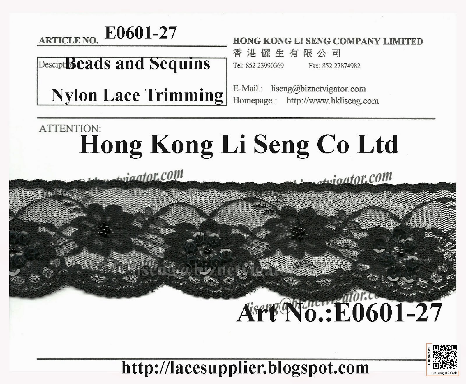 Nylon Lace Trimming With Beads and Sequins Manufacturer - Hong Kong Li Seng Co Ltd