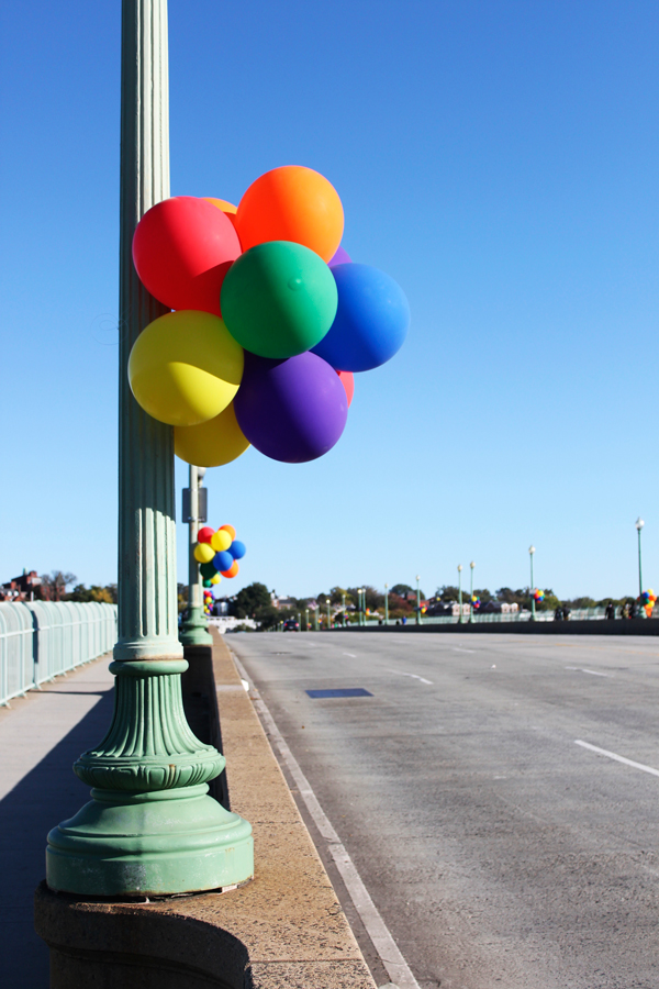 Key Bridge looking festive for the Marine Corps Marathon in Washington, D.C.