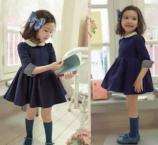 Model Baju Anak Perempuan Dress Biru Dongkar