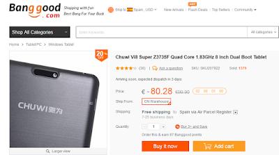 Consigue, por tiempo limitado, una tablet dual OS por solo 80€ en BangGood.