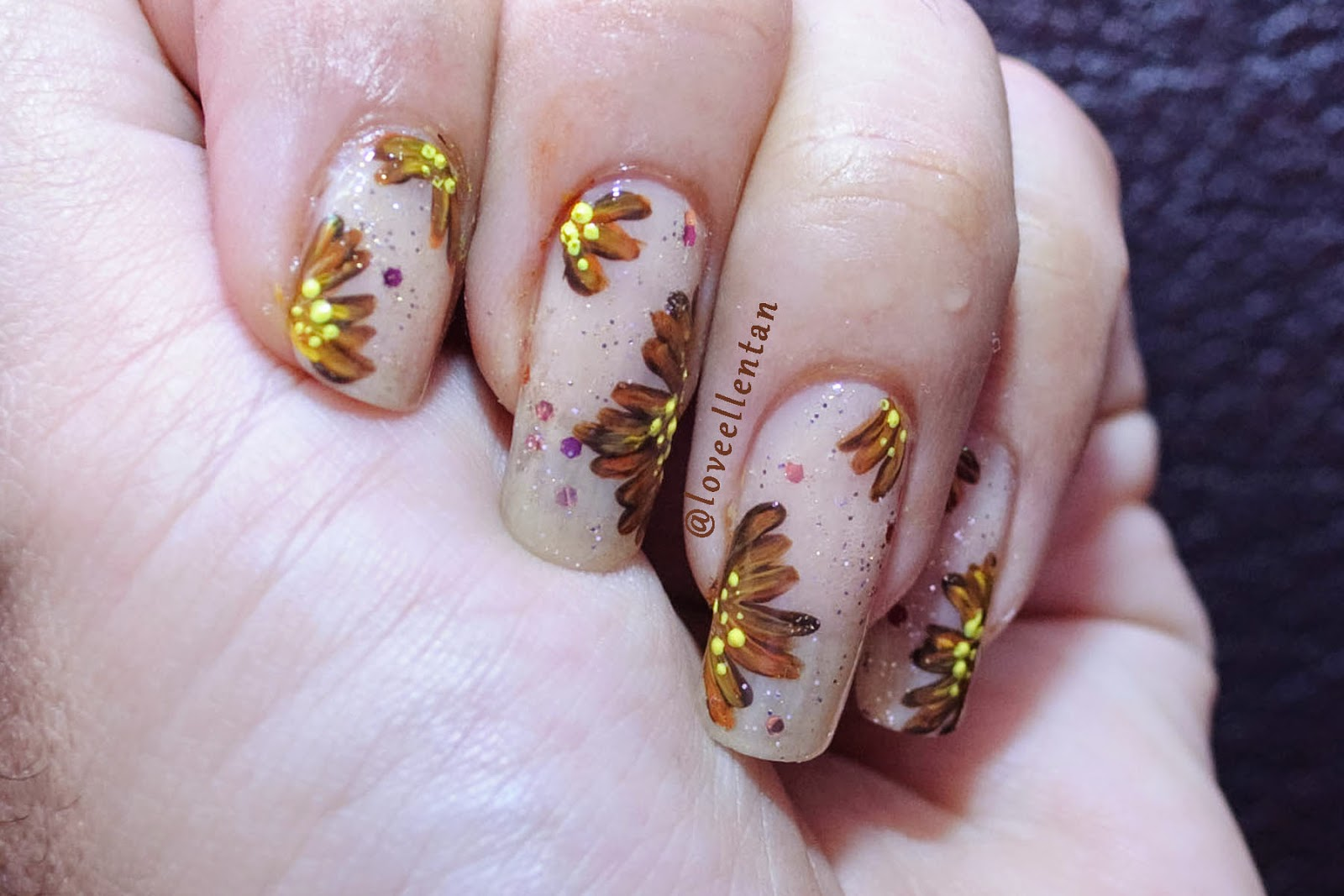 Nude and Brown Abstract Flower Nail art | ....♥ Loveellentan ...