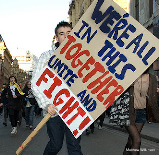 protest sign held by protester