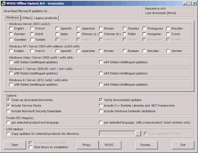 WSUS Offline Update 8.0 menu