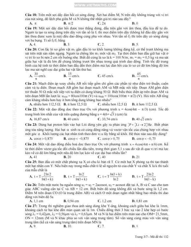 đáp án đề thi đh môn lý năm 2013 khối a a1, dap an de thi dh 2013 mon ly khoi a