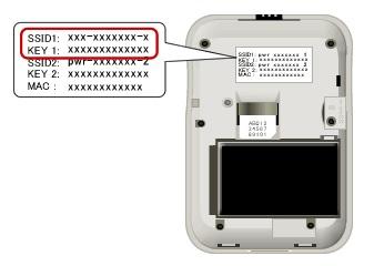 PWR-Q200の本体カバーを外し「SSID1」と「Key1」を確認
