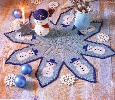 Крючком салфетка со снеговиком