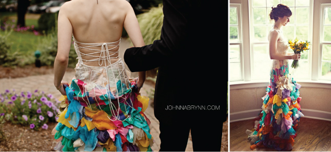 inspiration check out this super stylish bride 39s rainbow wedding dress