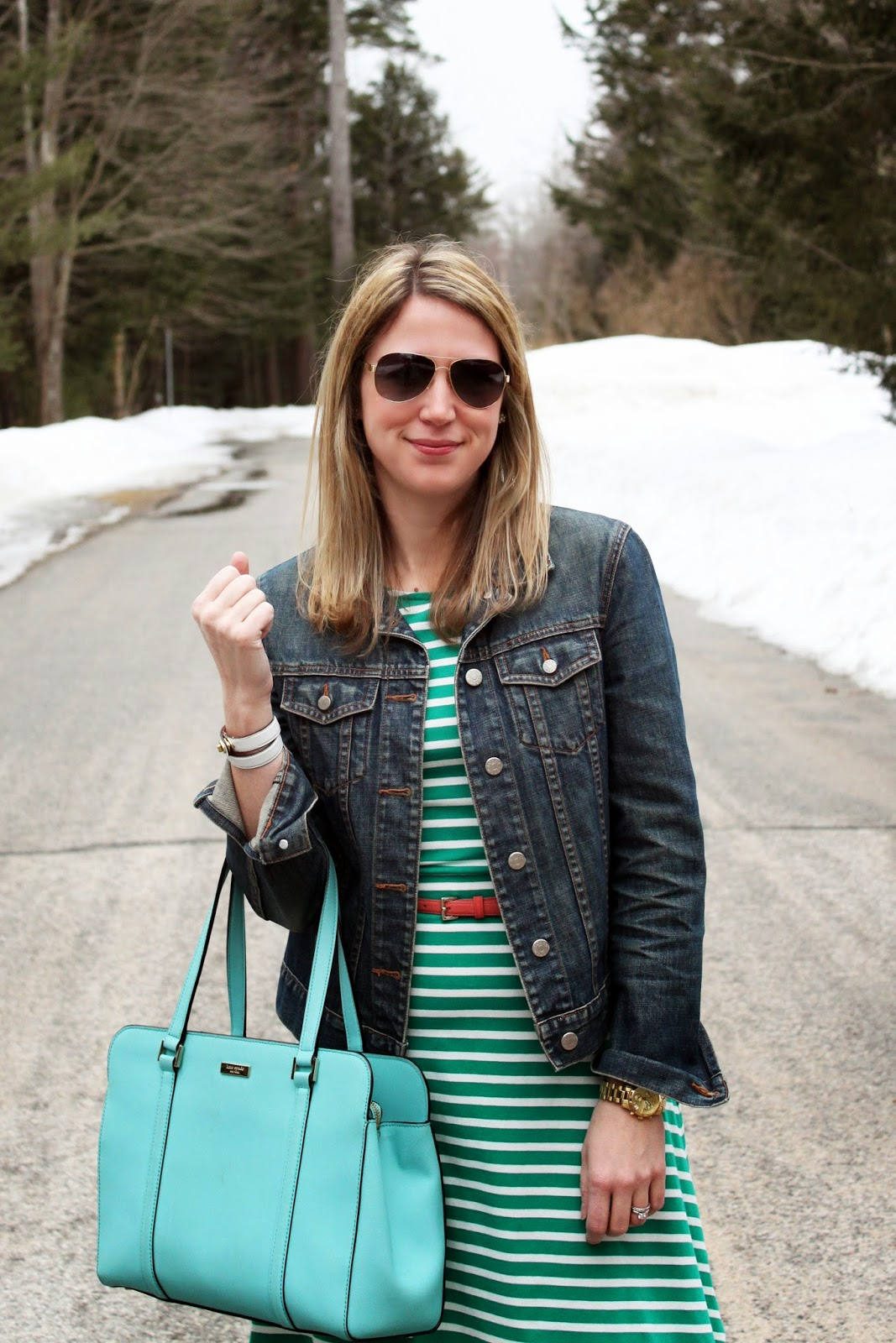 The Salty Hanger :: Lucky Stripe (jean jacket + striped dress + Kate Spade)