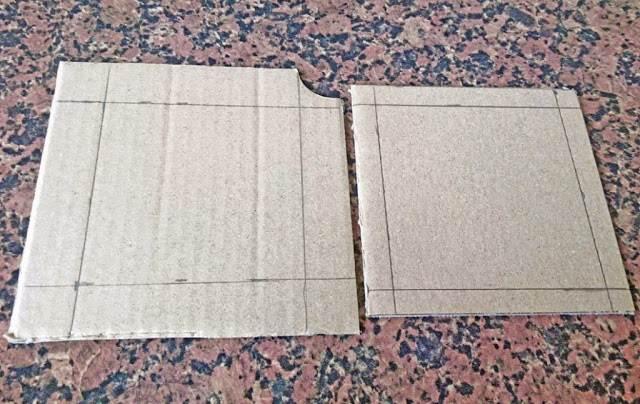 Cajita de cartón - Paso 2: cortamos el cartón a medida