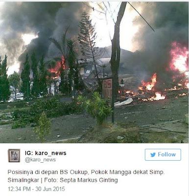 Pesawat Hercules Jatuh Posisinya di depan BS Oukup, Pokok Mangga dekat Simp. Simalingkar