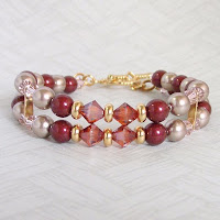 Bright Red Bracelet by MagsBeadsCreation