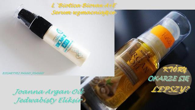 Starcie: L`Biotica Biovax A+E Serum wzmacniające kontra Joanna Argan Oil Jedwabisty Eliksir