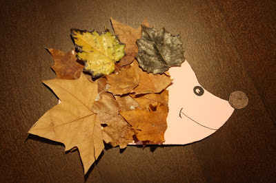 Manualidades infantiles: Erizo con hojas de otoño