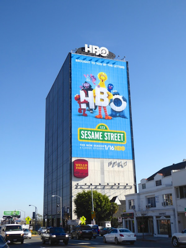 Giant Sesame Street HBO billboard Sunset Strip