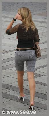 Girl wearing grey breeches