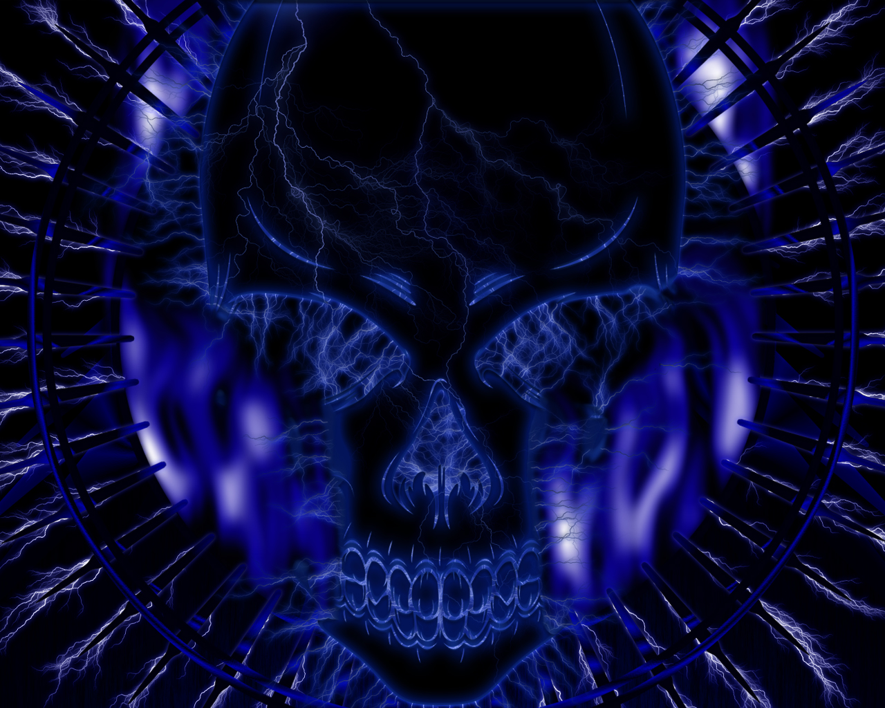 blue wallpaper skull - photo #2