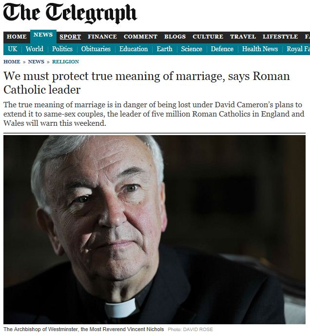 The Archbishop is of the view that 'gay marriage' would be a 'profoundly ...