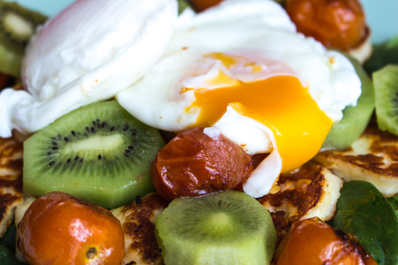 Poached egg breakfast with a salad of kiwifruit, cherry tomatoes, spinach and halloumi cheese   Svelte Salivations