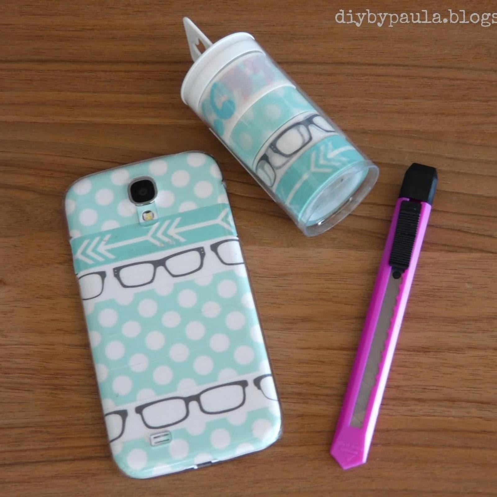 Carcasa de móvil con washi tape