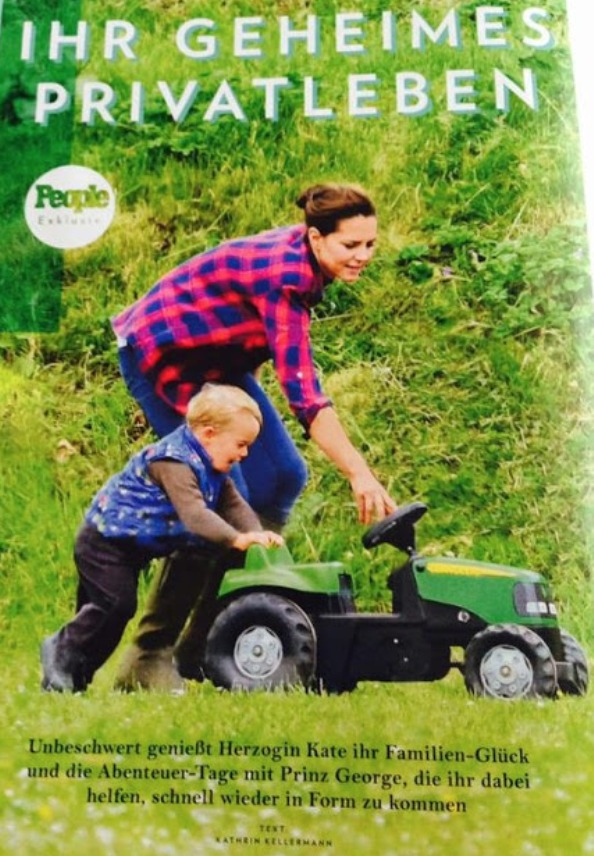 Duchess Of Cambridge And Prince George Play With A Toy Tractor At Snettisham Park