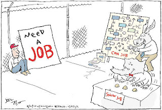 Joel Pett | cartoon on jobs, con jobs, and snow jobs