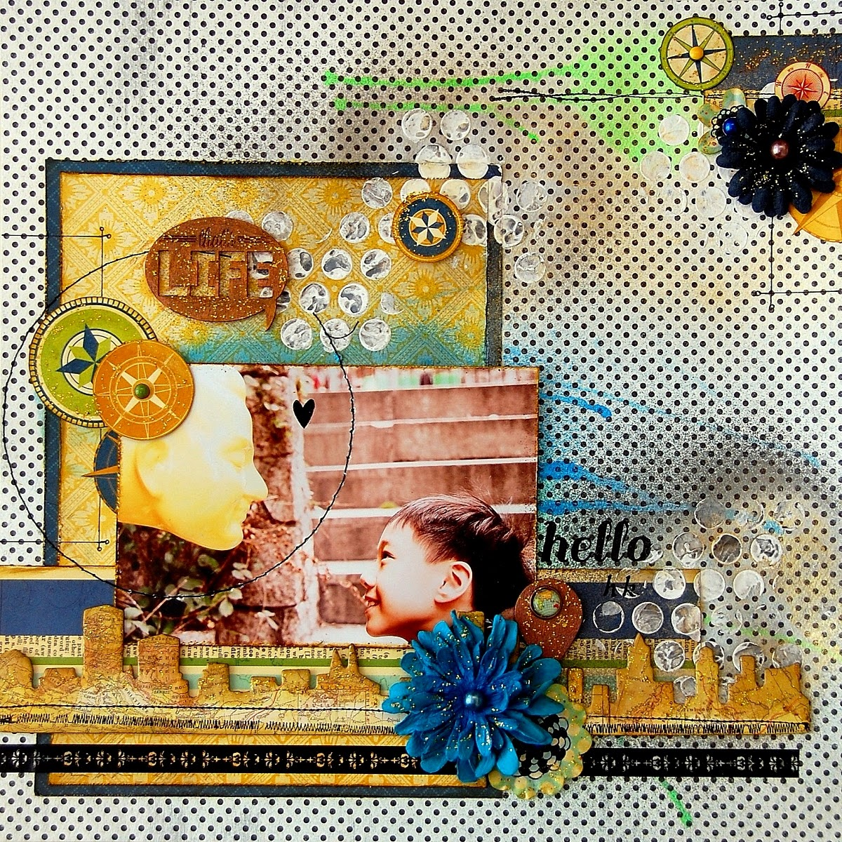 Scrapbook Layout by Irene Tan using BoBunny Souvenir collection