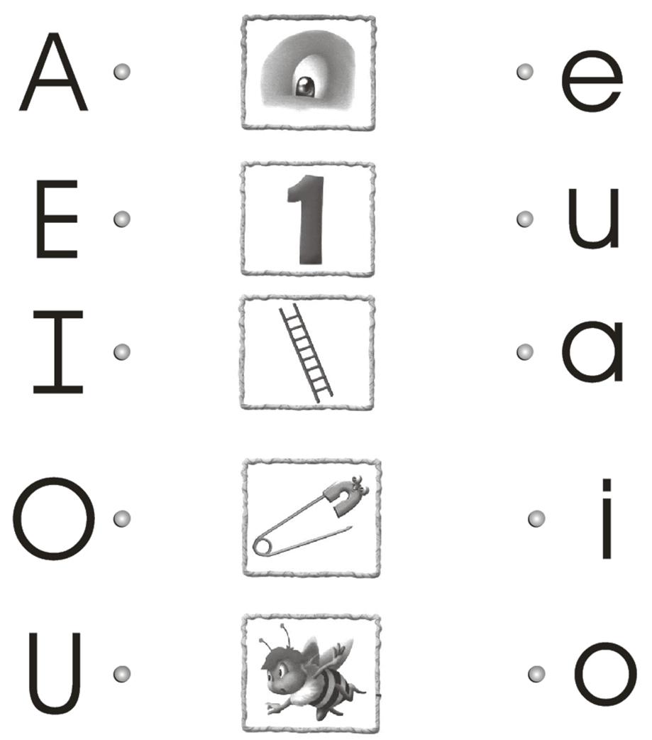 Nombra las vocales y únelas con el dibujo que corresponde.