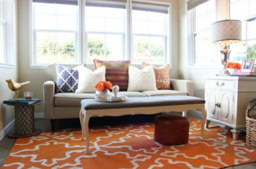 pomarańczowy kolor we wnętrzach