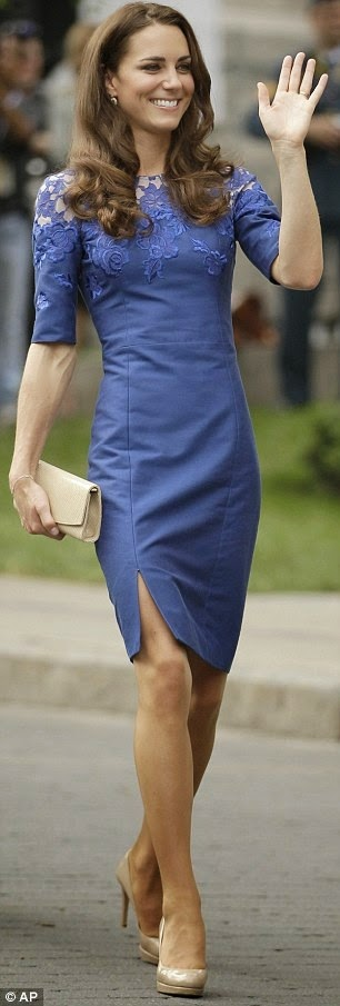 Kate Middleton, looking truly British in stunning electric blue Jacquenta dress by Erdem and L K Bennett pumps find more mens fashion on