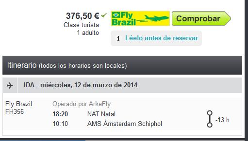 Fly Brazil de Fortaleza a Amsterdam