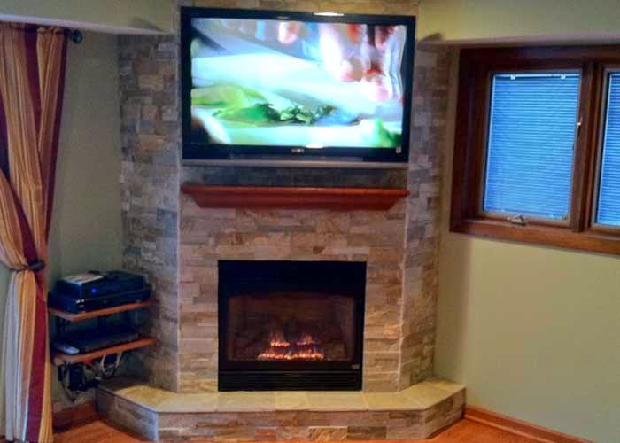 decorating small living room with corner modern fireplace and television