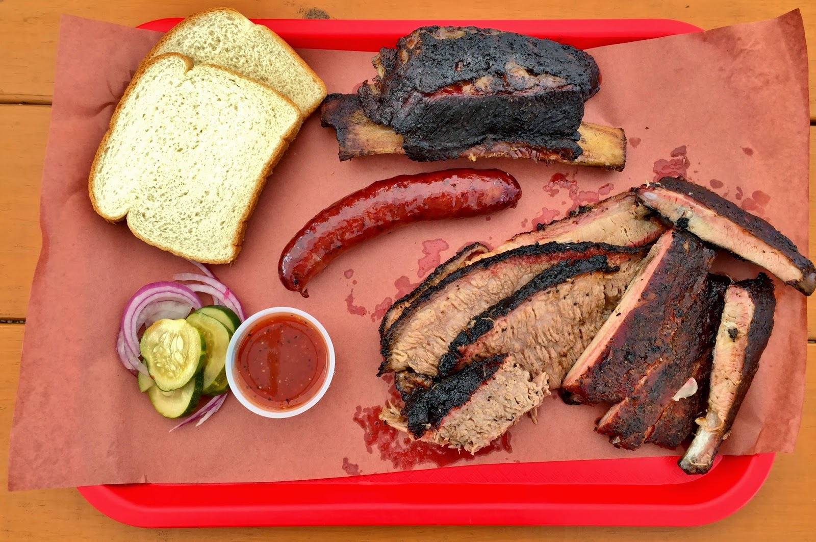 A spread of meats from Kerlin BBQ in East Austin