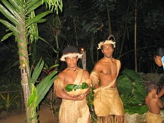Local natives in traditional clothes.