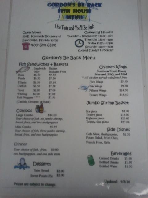Gordon 39 s be back fish house maitland eatonville for Fish house menu