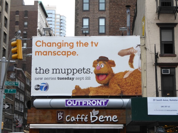 Muppets Fozzie Bear billboard NYC